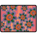 Colorful Floral Dream Fleece Blanket (Large)  80 x60 Blanket Front