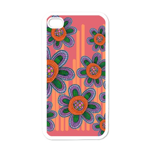 Colorful Floral Dream Apple iPhone 4 Case (White)