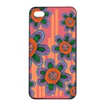 Colorful Floral Dream Apple iPhone 4/4s Seamless Case (Black) Front