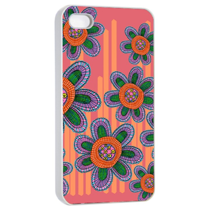Colorful Floral Dream Apple iPhone 4/4s Seamless Case (White)