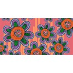 Colorful Floral Dream Twin Hearts 3D Greeting Card (8x4) Front