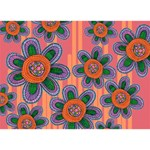 Colorful Floral Dream LOVE Bottom 3D Greeting Card (7x5) Back