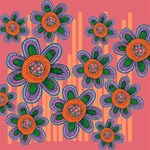 Colorful Floral Dream PARTY 3D Greeting Card (8x4) Inside