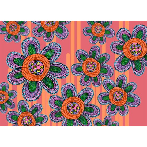 Colorful Floral Dream Birthday Cake 3D Greeting Card (7x5)