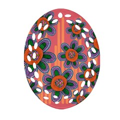 Colorful Floral Dream Oval Filigree Ornament (2 Side)