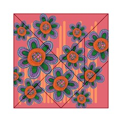 Colorful Floral Dream Acrylic Tangram Puzzle (6  x 6 )