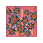 Colorful Floral Dream Acrylic Tangram Puzzle (4  x 4 ) Front