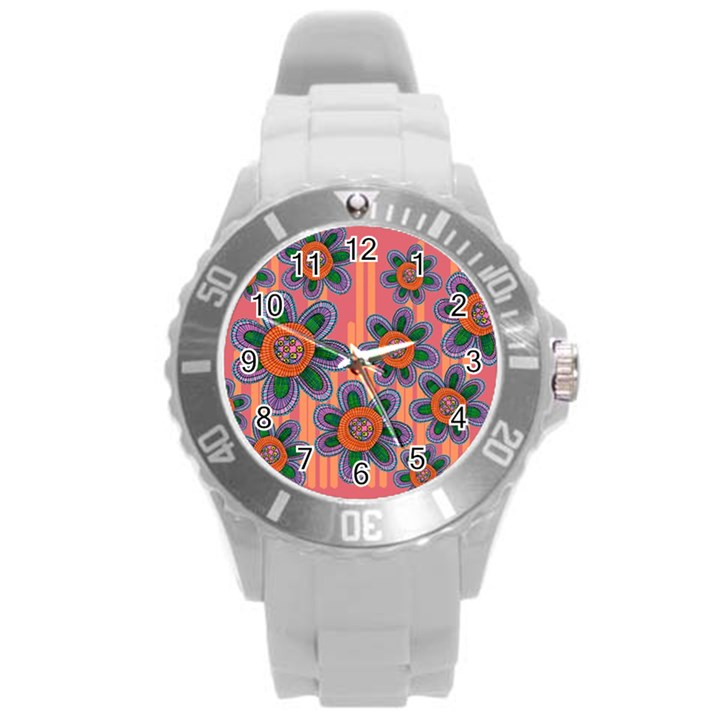 Colorful Floral Dream Round Plastic Sport Watch (L)