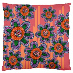 Colorful Floral Dream Large Cushion Case (Two Sides)