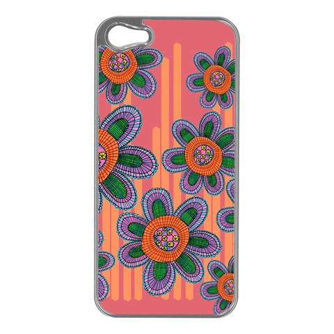 Colorful Floral Dream Apple iPhone 5 Case (Silver)