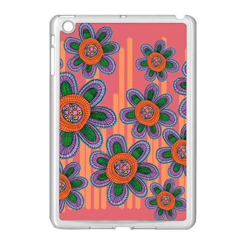 Colorful Floral Dream Apple iPad Mini Case (White)