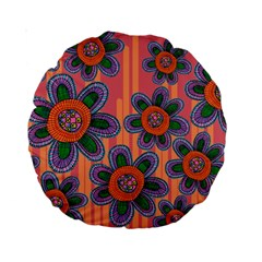Colorful Floral Dream Standard 15  Premium Round Cushions