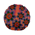 Colorful Floral Dream Standard 15  Premium Round Cushions Front