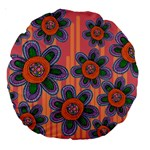 Colorful Floral Dream Large 18  Premium Round Cushions Front