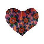 Colorful Floral Dream Standard 16  Premium Heart Shape Cushions Front
