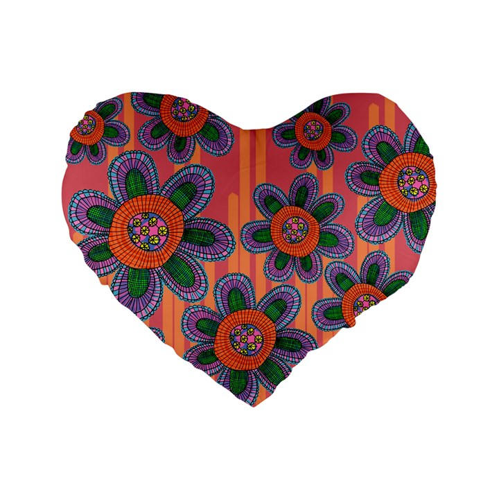 Colorful Floral Dream Standard 16  Premium Heart Shape Cushions