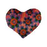 Colorful Floral Dream Standard 16  Premium Heart Shape Cushions Back