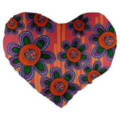 Colorful Floral Dream Large 19  Premium Heart Shape Cushions