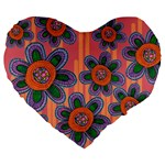 Colorful Floral Dream Large 19  Premium Heart Shape Cushions Front