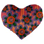 Colorful Floral Dream Large 19  Premium Heart Shape Cushions Back