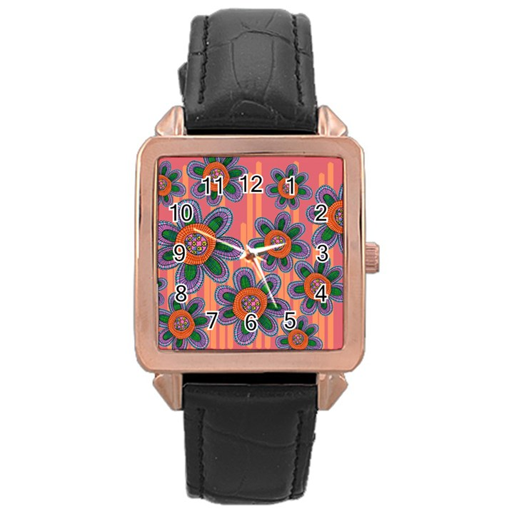 Colorful Floral Dream Rose Gold Leather Watch