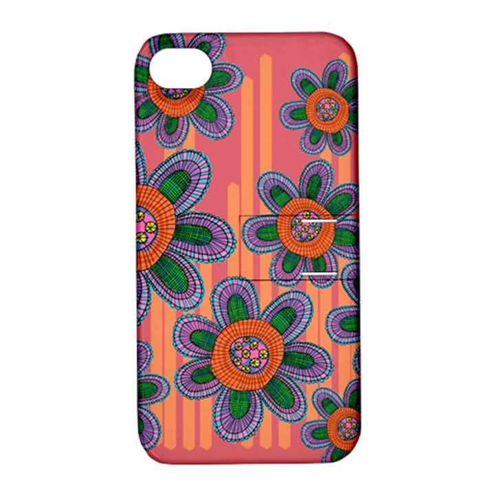 Colorful Floral Dream Apple iPhone 4/4S Hardshell Case with Stand
