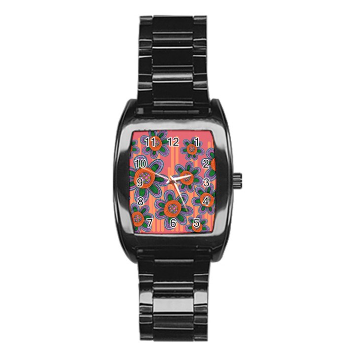 Colorful Floral Dream Stainless Steel Barrel Watch