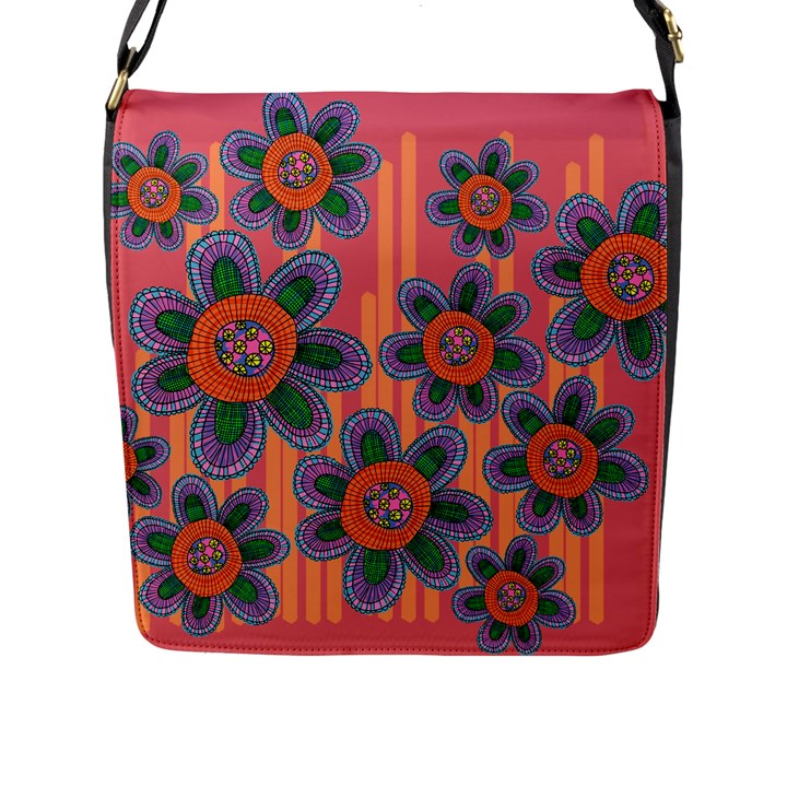 Colorful Floral Dream Flap Messenger Bag (L)