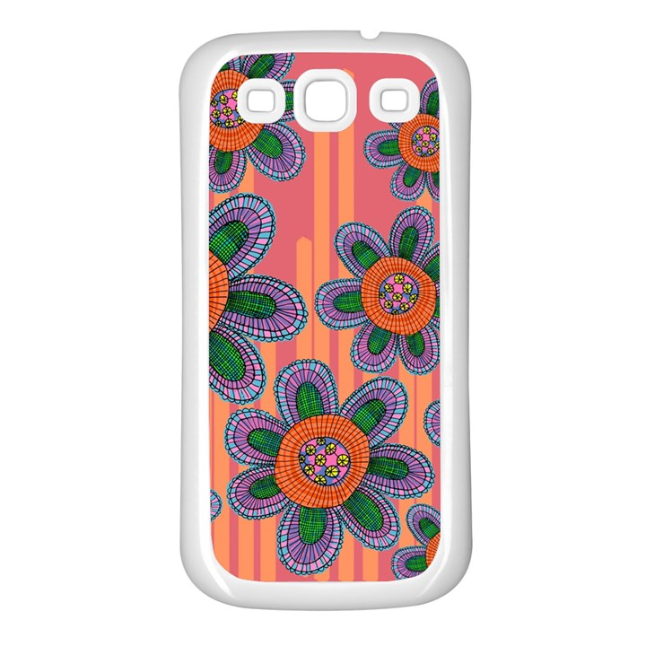 Colorful Floral Dream Samsung Galaxy S3 Back Case (White)