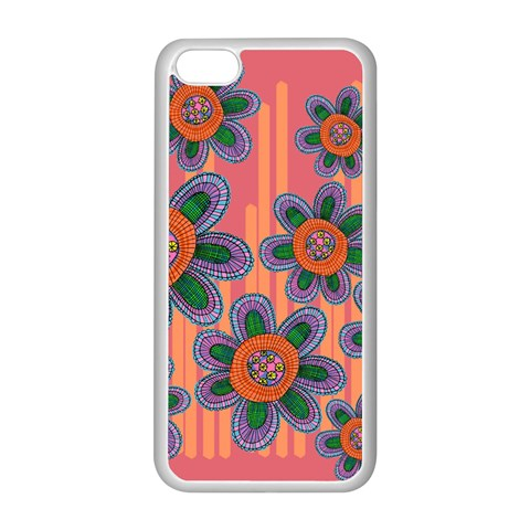 Colorful Floral Dream Apple iPhone 5C Seamless Case (White)