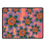 Colorful Floral Dream Double Sided Fleece Blanket (Small)  50 x40 Blanket Back