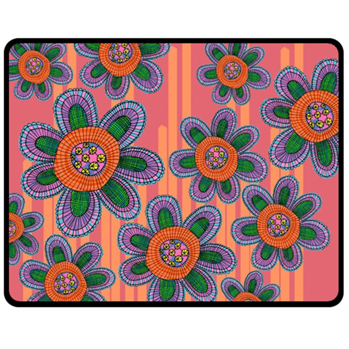 Colorful Floral Dream Double Sided Fleece Blanket (Medium)