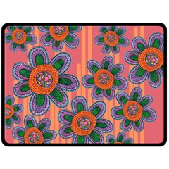 Colorful Floral Dream Double Sided Fleece Blanket (Large)