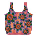 Colorful Floral Dream Full Print Recycle Bags (L)  Front