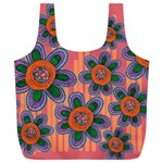 Colorful Floral Dream Full Print Recycle Bags (L)  Back