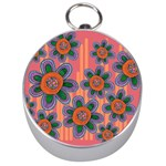 Colorful Floral Dream Silver Compasses Front