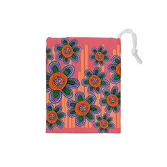 Colorful Floral Dream Drawstring Pouches (Small)