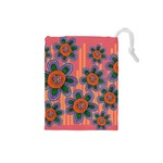 Colorful Floral Dream Drawstring Pouches (Small)  Front