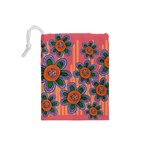 Colorful Floral Dream Drawstring Pouches (Small)  Back