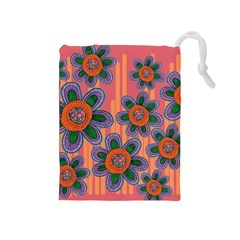 Colorful Floral Dream Drawstring Pouches (Medium)