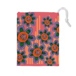 Colorful Floral Dream Drawstring Pouches (Large)  Front