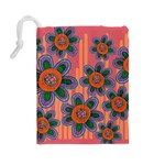 Colorful Floral Dream Drawstring Pouches (Large)  Back