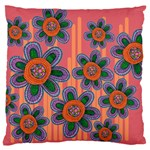 Colorful Floral Dream Large Flano Cushion Case (Two Sides) Back
