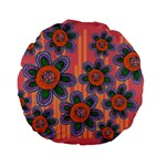 Colorful Floral Dream Standard 15  Premium Flano Round Cushions Back