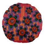 Colorful Floral Dream Large 18  Premium Flano Round Cushions Back