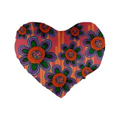 Colorful Floral Dream Standard 16  Premium Flano Heart Shape Cushions