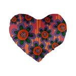 Colorful Floral Dream Standard 16  Premium Flano Heart Shape Cushions Front
