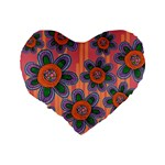 Colorful Floral Dream Standard 16  Premium Flano Heart Shape Cushions Back