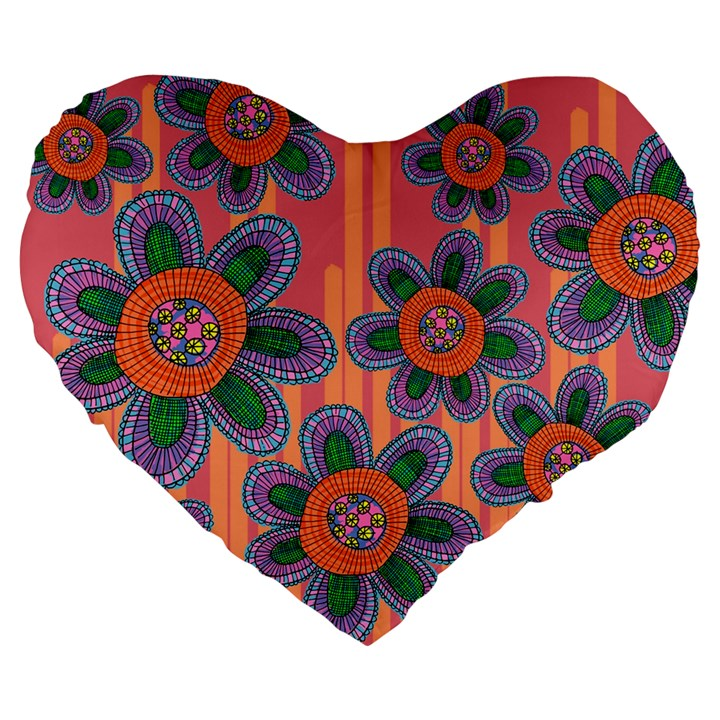 Colorful Floral Dream Large 19  Premium Flano Heart Shape Cushions