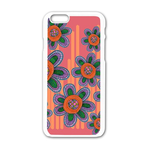 Colorful Floral Dream Apple iPhone 6/6S White Enamel Case